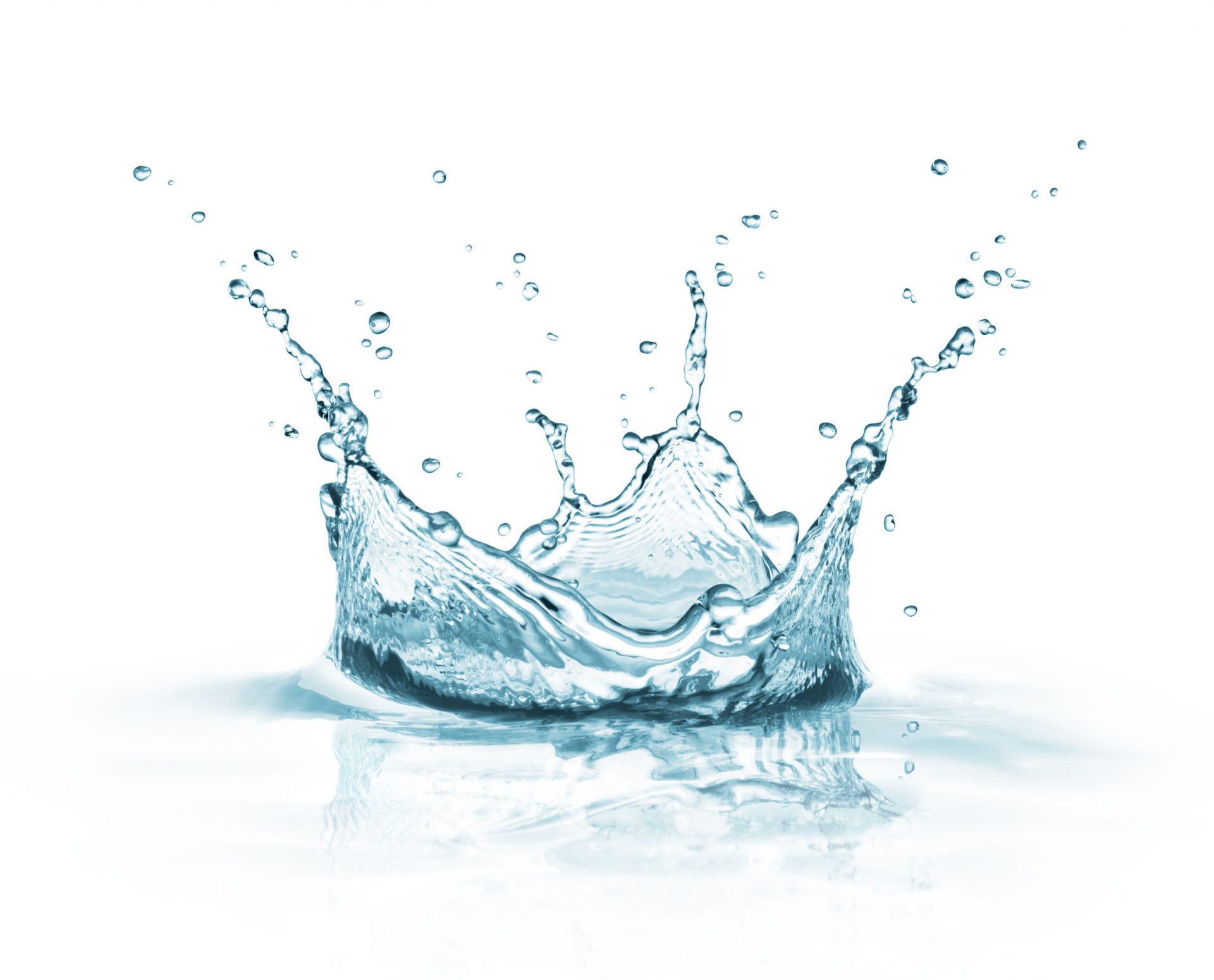 water splash on white background with reflection