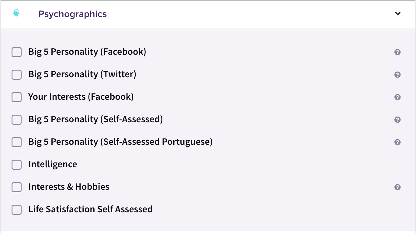 Drop down image of psychographic options on the CitizenMe Exchange platform which include Big 5 Personality (Facebook), Big 5 Personality (Twitter), Your Interests (Facebook), Big 5 Personality (Self-Assessed), Interest & Hobbies
